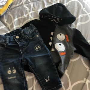 Gap hooded monster sweatshirt and jeans 6-12 month